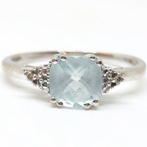 10k White Gold Genuine Aquamarine & Diamond Ring